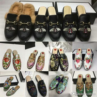 Wholesale black cat slippers for sale - Group buy Princetown Embroidered Slipper with Angry Cat Appliqué Women S Slippers Mules Loafer Shoes Print Leather SlipperLuxury Brand Sandals OO