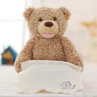 Wholesale peek boo toys resale online - Peek a Boo Teddy Bear Play Hide And Seek Lovely Cartoon Stuffed Teddy Bear Kids Birthday Gift Cute Music Bear Plush Toy a