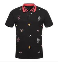 полосатая рубашка с коротким рукавом оптовых-новая мода мужчины Марка поло футболка вышивка змея воротник классический футболка с коротким рукавом футболка G полосатый любителей девушки женщины мужчины топ Tee