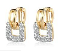 ingrosso piccole pietre di pavimentazione-Orecchini a cerchio Huggie Fashion Design per donna Wax Cluster Pavimentato Zirconia Crystal Earing Jewelry 2016 MLE218