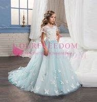 dd3ba2b01b1 2018 Arabic Light Blue Flower Girls Dresses For Weddings Short Sleeves Lace  Appliques Ball Gown Birthday Girl Communion Pageant Gown