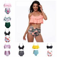 Wholesale swimwear swimming surf for sale - Women Floral Swimsuits High Waist Bikini Sets Ruffles Pieces Swimwear For Women Summer Swim Surfing Clothes OOA5418