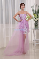 novias lavanda criadas vestidos al por mayor-envío gratis 2018 vestidos formales novias vestidos de la criada sexy después de Lavender cordón Púrpura corto antes de la espalda larga vestidos de baile vestido