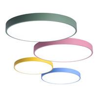plafonniers modernes ronds achat en gros de-Plafonniers de chambre à coucher à LED simples modernes nordiques hall d'entrée restaurant restaurant plafonniers montés lampes colorées rondes macarons luminaire