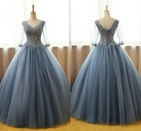 Wholesale ball images free for sale - Real Image Ball Gown Quinceanera Dresses Floor Length V Neck Prom Gowns Custom Made Formal Girls Pageant Dresses