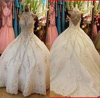 Wholesale shine wedding gown - Luxury Ball Gown Wedding Dresses High Neck Bling Shining Crystal Appliqued Organza Chapel Train Plus Size Backless Bridal Gowns