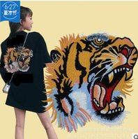 Wholesale big tiger - Big Tiger Patch Stripe Animal Punk Rock sewing Patch Biker Sequin Embroidered Patches For Clothes Stripe On Clothes Jean