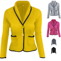 ingrosso blazer plus size women-6XL Plus Size Donna Blazer Suit Autunno Casual Button Slim Work Office Giacca corta Blazer Outwear Feminino Jaqueta Veste Femme DK04BFY