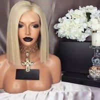 фотографии парик шнурка оптовых-MHAZEL блондинка Боб прямая сторона часть слева #613 передние волосы парик фото 12 дюймов прозрачный парик шнурка