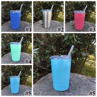 Wholesale Cups Lids Straws - 5 Colors 12oz Kid Milk Cup Vacuum Insulated Beer Mugs Stainless Steel Wine Glass Coffee Mugs With Lid With Straw CCA9237 30pcs