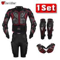 guantes de moto armadura al por mayor-Herobiker Red Motorcross Racing Motorcycle Body Armor Chaqueta protectora + Gears Pantalones cortos + Protectores de rodilla para motocicleta + Guantes