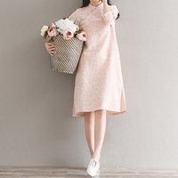 dantel şık cheongsam toptan satış-2018 yaz Kadın Cheongsam Elbise Çin Vintage Dantel Nakış Yaz Elbiseler Geleneksel Qipao Bayanlar Zarif Elbise