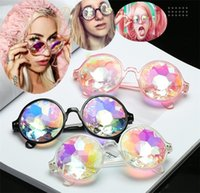 Wholesale rainbow sunglasses - Women Geometric Kaleidoscope Glasses Rainbow Rave Lens Bling Bling Prism Crystal Party Diffraction Sunglasses Eyeglasses C0165