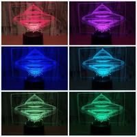 alien lichter großhandel-Led 3D Fliegende Untertasse Nachtlicht Ufo Form Sieben Farben Touch Fernbedienung Alien Spacecraft Flugzeuglampe Kind Geburtstag Lichter 25zy jj