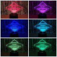 lâmpadas ufo venda por atacado-Led 3D Flying Saucer Night Light Forma Ufo Sete Cores Toque Controle Remoto Alienígena Spacecraf Lâmpada de Aeronave Luzes de Aniversário Da Criança 25zy jj