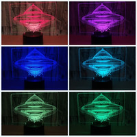 Wholesale ufo remote control resale online - Led D Flying Saucer Night Light Ufo Shape Seven Colors Touch Remote Control Alien Spacecraf Aircraft Lamp Child Birthday Lights zy jj