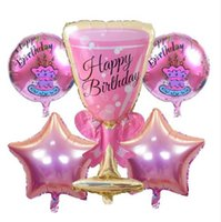 Wholesale toy wine glasses - 5Pieces lot Birthday Cup Foil Balloons Inflatable Toys Wine Glass Globos Birthday Party Decorations Kids event Party Supplies