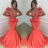 Wholesale maternity dresses for prom for sale - Group buy Coral Sexy Sheer Crew Neck Mermaid Prom Dresses Cascading Ruffles Skirts Evening Gowns Plus SIze Pageant Dress For Arabic BA9782