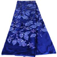 tela de lentejuelas africanas al por mayor-VILLIEA Velvet African Tulle tela de encaje de alta calidad tela de encaje africano azul real de lentejuelas francés de malla de cordones Material para mujeres