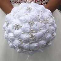 Wholesale artificial diamond flowers - 21CM White Silk Rose Wedding Bouquet Simple Pearl Diamond Bride Bouquet Artificial Flower Wedding Bridesmaid Bouquet Bridal Holding Flower