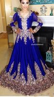 or pakistanais achat en gros de-2018 bleu royal robes à manches longues soirée soirée usure satin pakistanais arabe appliques de broderie équipage une ligne robes de bal
