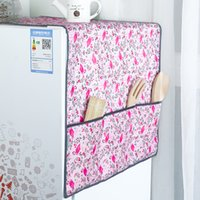 Wholesale Refrigerator Covers - New Flamingo pattern Refrigerator Dust Proof Cover Muti-Functional Fridge Pouch Organizer Storage Bags Dual Purpose Kitchen Tool