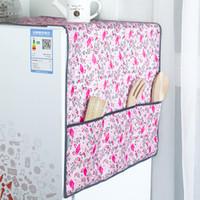 cubiertas de polvo del refrigerador al por mayor-Nuevo patrón de Flamingo Cubierta a Prueba de Polvo del Refrigerador Muti-Functional Nevera Bolsa Organizador Bolsas de Almacenamiento de Doble Propósito Herramienta de Cocina