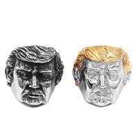 jóia de aço inoxidável eua venda por atacado-Frete grátis Atacado EUA Presidente Trump Anel de Aço Inoxidável Jóias Mais Novo Ouro de Prata Americano Presidente Cool Biker Mens Anel 869B