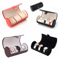 Wholesale box display storage case online - 3 Grid PU Leather Watch Roll Box Organizer Display Boxes Portable Lightweight Watch Storage Case Holder Colors AAA987