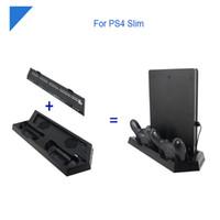 controlador ps4 más frío al por mayor-Estación de carga de controlador dual de alta calidad con ventilador de refrigeración, cargador de soporte vertical para PS4 / PS4 Pro / PS4 Slim Game Console ahorro de espacio