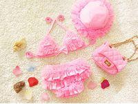 baby badeanzüge hüte großhandel-PROSEA 3 teile / satz Mädchen Süße Spitze Bikinis Mit Sonnenhut Baby Mädchen Schöne Badeanzüge Bademode Kinder Sommer Badeanzug Beachwear