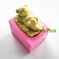 ingrosso torte di ragazzi-MomPea 0772 Spedizione gratuita Cartoon Boy orso a forma di stampo in silicone decorazione torta torta del fondente 3D Mould Food Grade