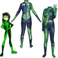catsuit bodysuit grün groihandel-Asiatische Größe Green Kim Mögliche Shego Sexy Superhero Cosplay Halloween Kostüm Lycar Spandex Party Zentai Jumpsuit Body