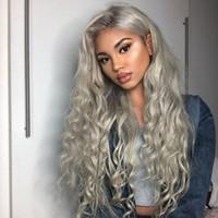 yapışkan olmayan tam dantel peruk notası toptan satış-8A Sınıf Saç Peruk Brezilyalı Tutkalsız Tam Dantel Peruk Gri Vücut Dalga İnsan Saç Dantel Ön Peruk Siyah Kadınlar