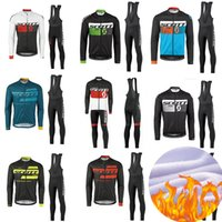 Wholesale scott long sleeve bike - 2018 TEAM SCOTT Cycling Jersey Ropa Ciclismo MTB Thermal Fleece PRO Bike wear clothes long sleeve Cycling Clothing 9d GEL Pants Set uniform