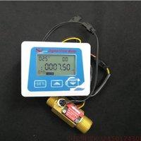 Wholesale digital water flow - G1 2 flow sensor Digital display Flow gauge Flowmeter totameter Electronic water meter Temperature time