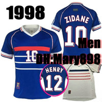 Wholesale world cup champions shirt for sale - Group buy Thai quality World Cup Champions World Cup Retro Soccer Jersey blue white ZIDANE HENRY Football shirts