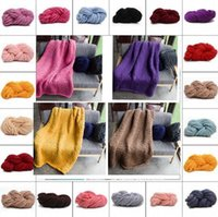 Wholesale thick winter blankets - 100*80cm Fashion Hand Chunky Knitted Blanket Thick Merino Bulky Knitting Throw Blankets knitting photography Blanket 20 color KKA3632