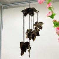 ingrosso case d'acero-2 pezzi vintage decorativo foglia Windchime metallo Wind Chime con 7 foglie d'acero Antique Hanging campana giardino di casa Patio decorazione in bronzo