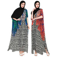 arabisches kleid kurz großhandel-Muslimischen Erwachsenen kurze Fledermaus Ärmel gedruckt Abaya Arabischen Mode Türkei Nahen Osten Druck Kleider Musical Robe Ramadan Abaya