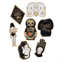 Wholesale children love dolls online - Enamel Skull Matryoshka Doll Totem Loner Club Love Woman Brooch Pins Suit Shirt Lapel Pin Badge for Women Children Gift drop ship
