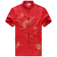 китайские костюмы для мужчин оптовых-Embroidery Chinese Clothing For Men Short Sleeve Shirt Chinese Traditional Cotton  Clothing Tang Suit Men Chinese Tops