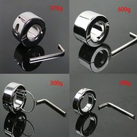 Wholesale stainless ball chastity device online - Stainless Steel Ball Stretcher Cock Ring Adult Sex Toys Bondage Gear Penis Restraints Male Chastity Device BDSM Scrotum Pendant Ball Weights