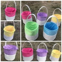 Wholesale egg baskets - Easter Gift Bags Easter Rabbit Basket Easter Bunny Bags Rabbit Printed Canvas Tote Bag Egg Candy Baskets Party Favors CCA9117 20pcs