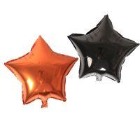 globos en forma de estrella al por mayor-Naranja Negro Foil Globos Halloween Forma de estrella Globo de helio Adorno navideño Suministro de decoración Decoraciones Decoración 45 cm Nuevo