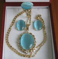colgante de concha opal al por mayor-Conjunto elegante al por mayor de la joyería del anillo del pendiente del collar del ópalo del azul del cielo del embutido 18kgp