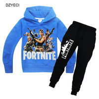 Wholesale clothes for teenage girls - Fortnite Tracksuit For Teenage Kid Clothing Set Fornite Big Boy Girl Hooded Sweater Shirt+Trouser Pant 2PC Outfit Children Suit