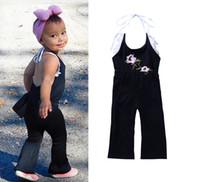 kız yaz pantolon pantolon toptan satış-Bebek Gül nakış askı pantolon romper kızlar Asmak boyun backless Tulumlar 2018 yeni yaz çocuk giysileri C3592
