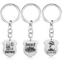 Wholesale Fortnite Keychain Shield Shape Keyrings Stainless steel FORTNITE logo Printing Hot Game Fans Souvenir Gift Kids Women Men Fashion Jewelry