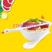 Wholesale plant rice online - Creative Swan Salad Bowl Kitchen Tableware Set Children Fruit Rice Soup Noodle Bowl Cutlery Set QW7674